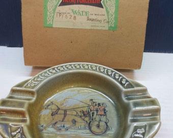 Vintage Wade Co. Irish Porcelain Ashtray, Irish Jaunting Car