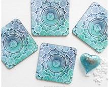 Coaster Set of 4 Moroccan Tile Print, Geometric Teal Cork Coasters, Illustration Coaster Set, Teal Moroccan Tile Coasters T182