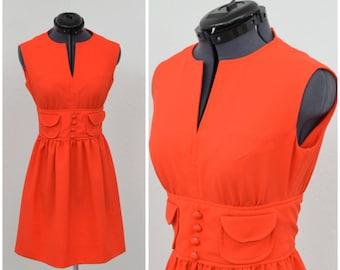 Vintage 60s Mod Orange Dress, Mod Dress, Mini Dress, Petite Dress, Short Dress, Summer Dress, Sleeveless Dress, Cute Teen Dress