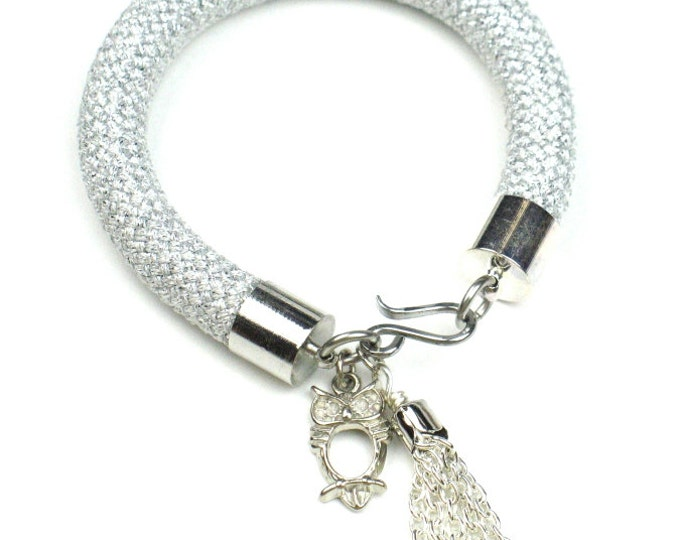 Silver Cord Bracelet in Climbing Rope with Owl Charm and Tassel // Perfect Gift for Her