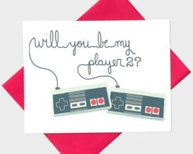 Will You Be My Player 2 - Video Game - Anniversary Card - Geeky Love Card - Geeky Anniversary Card - Retro Gamer -  Card For GirlFriend