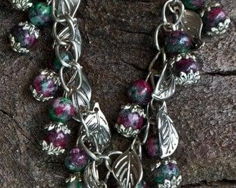 FREE SHIPPING WORLDWIDE-Ruby Bracelet-Zoisite Bracelet-Anyolite Bracelet-Leaf Charm Bracelet-Gemstone Bracelet-July & Capricorn Birthstone