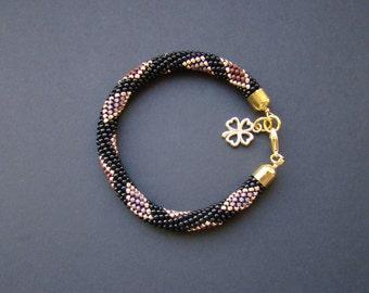Holiday gift ideas Beaded Black Gold Rhombus bracelet Bead rope crocheted bracelet Gold charm bracelet Geometric bracelet Beadwork roll