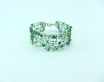 Green beaded knitted wire cuff, Hand knitted bracelet, Jewellery