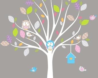 Vinyl Wall Decal Mural Tree, Bird, Owl nursery wall decal sticker vinyl tree and branch bird decals
