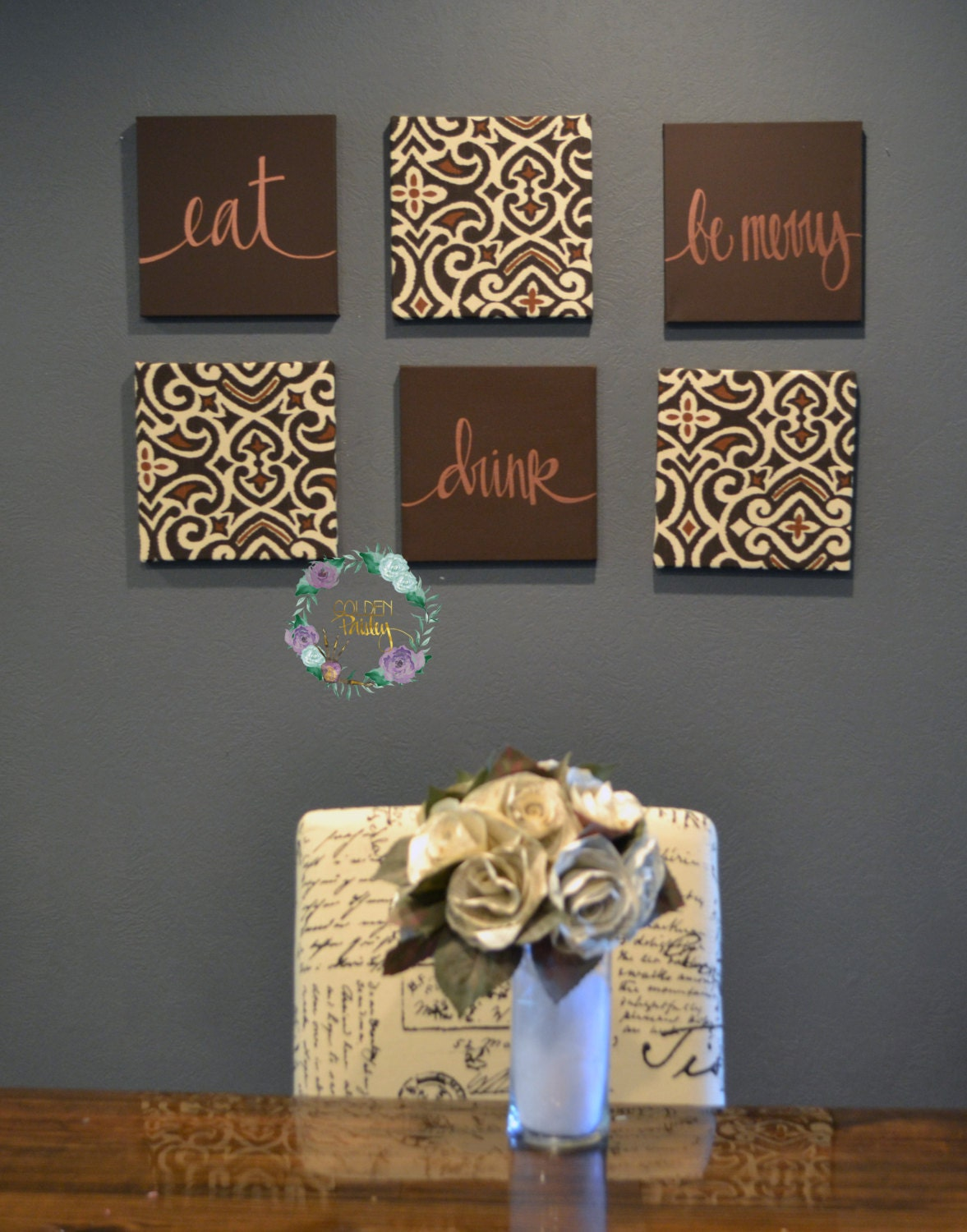 eat drink be merry wall art set custom canvas wall hangings. Black Bedroom Furniture Sets. Home Design Ideas