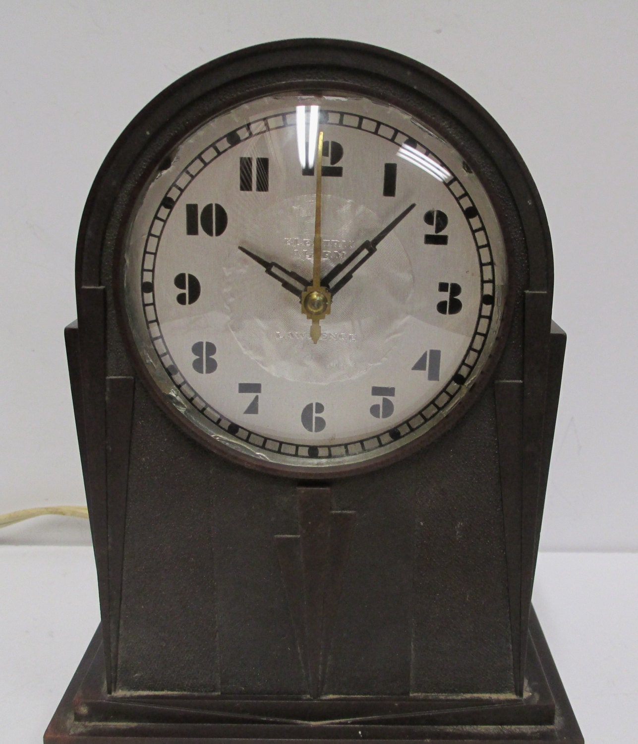Antique art deco b e lawrence alarm clock vintage electric Art deco alarm clocks