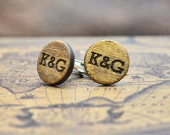 Wood Cufflinks - Personalized Cuff Links - Laser Engraved Monogrammed Initial Wooden Cufflinks - Groomsmen Gift Rustic Wedding Party Groom