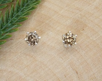 7/16CT Champagne Diamond Earrings