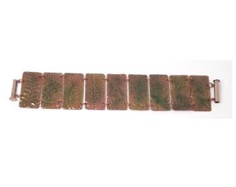 Enameled Embossed Copper Bracelet