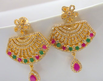 Red-Pink and Green Cz Studded Chandelier Earrings