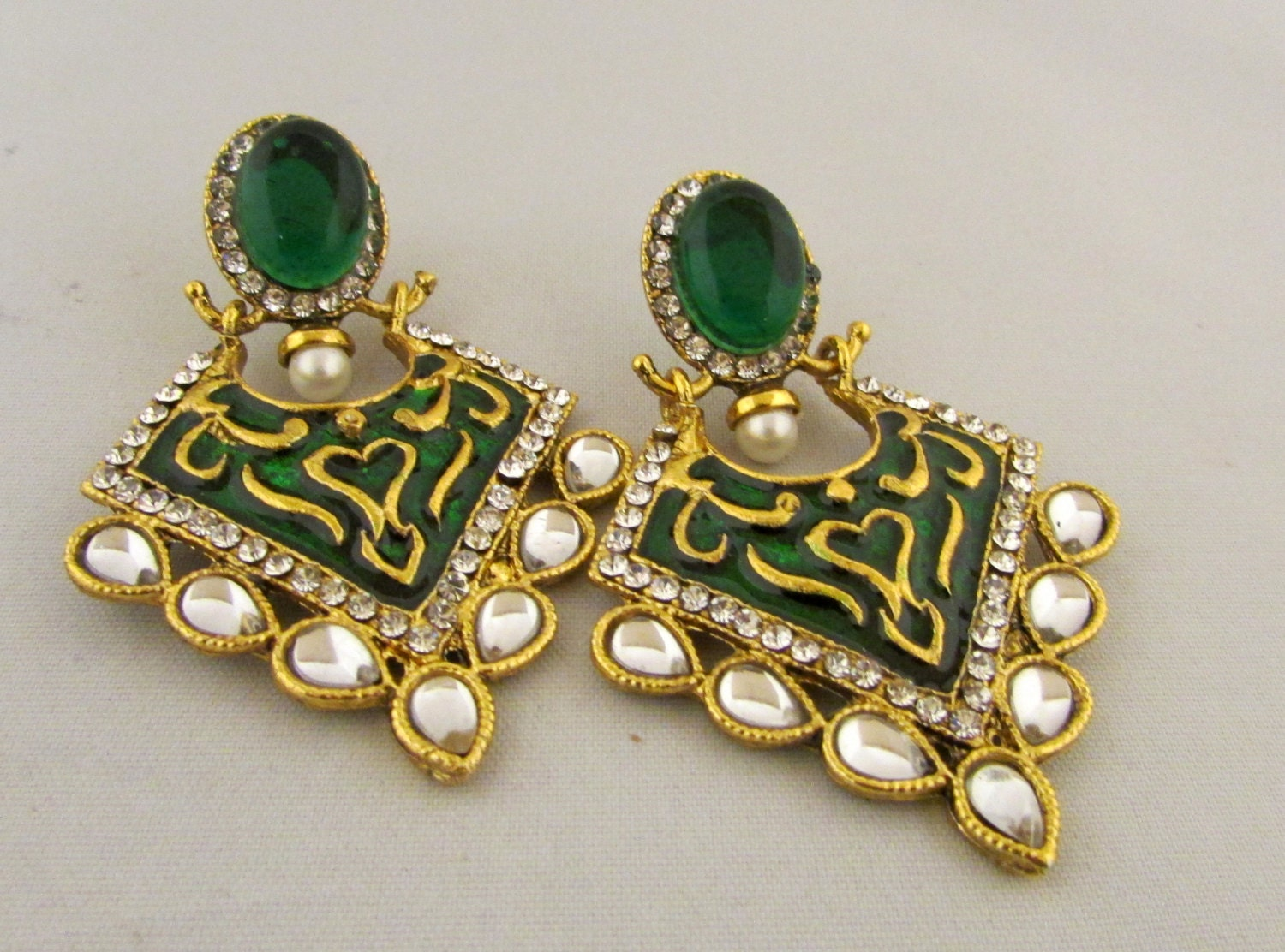 clear earrings for work green and golden clear enamel work ethnic earrings 3878