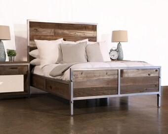 Reclaimed Wood Industrial Bed
