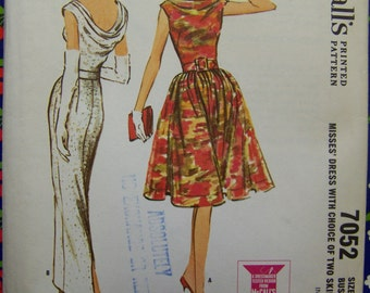 HTF Vintage 1960s McCall's 7052 Dress Cowl EVENING GOWN Pattern sz 12 UNused
