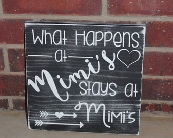 Mimi Sign- Gift for Mimi- Mothers Day Gift- Home Decor- Wall Art- Grandparents Day- What Happens at- Quote Sign- Funny Mimi Sign- Rustic