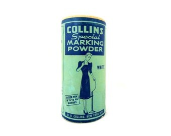 Vintage COLLINS MARKING POWDER Full with White Powder 1940s Graphics Skirt Marker Powder