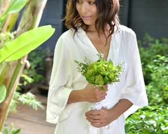 Bridal Robe, Plain Ivory, Luxurious Kimono Robe