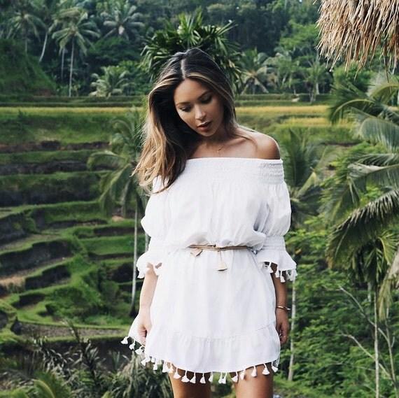 Mimi Summer Dress - Boho Dress - White Cotton Tassel - Off Shoulder Dress - Code: KH006 (A)