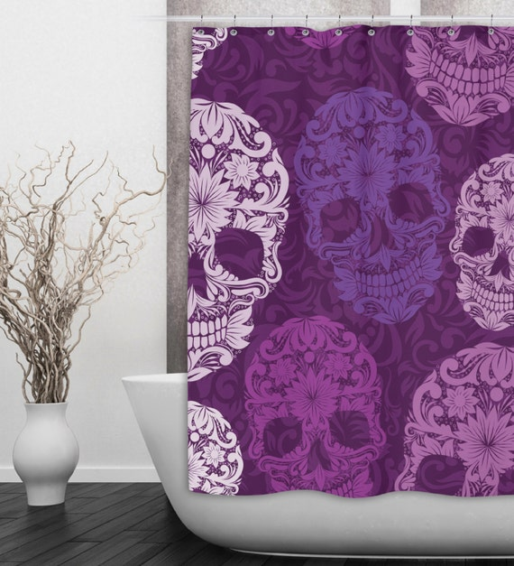 sugar skull shower curtain dia de meurtos shower by inkandrags. Black Bedroom Furniture Sets. Home Design Ideas