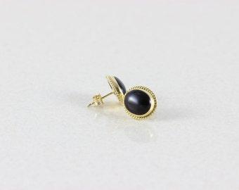 14k Yellow Gold Onyx Earrings Womens Earrings