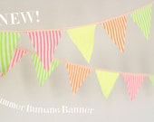 Fabric bunting banner Garden decor Neon party buntinging dec Camping decor  Pennants Home decor Photo prop colorful striped cotton
