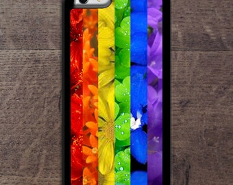 LGBT Rainbow in flowers iPhone case