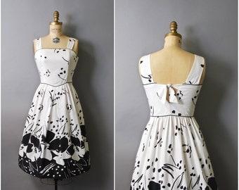 1970's Lanz Originals Black and White Floral Cotton Sun Dress • small