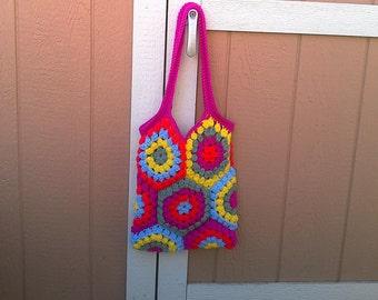 CLEARANCE!! Crocheted Tote Bag -- Groovy Hexagons, Beach bag, boho, bohemian, hippie, vegan
