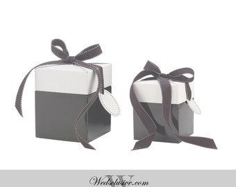 Grey Favor Boxes , Gift Boxes - Set of 10