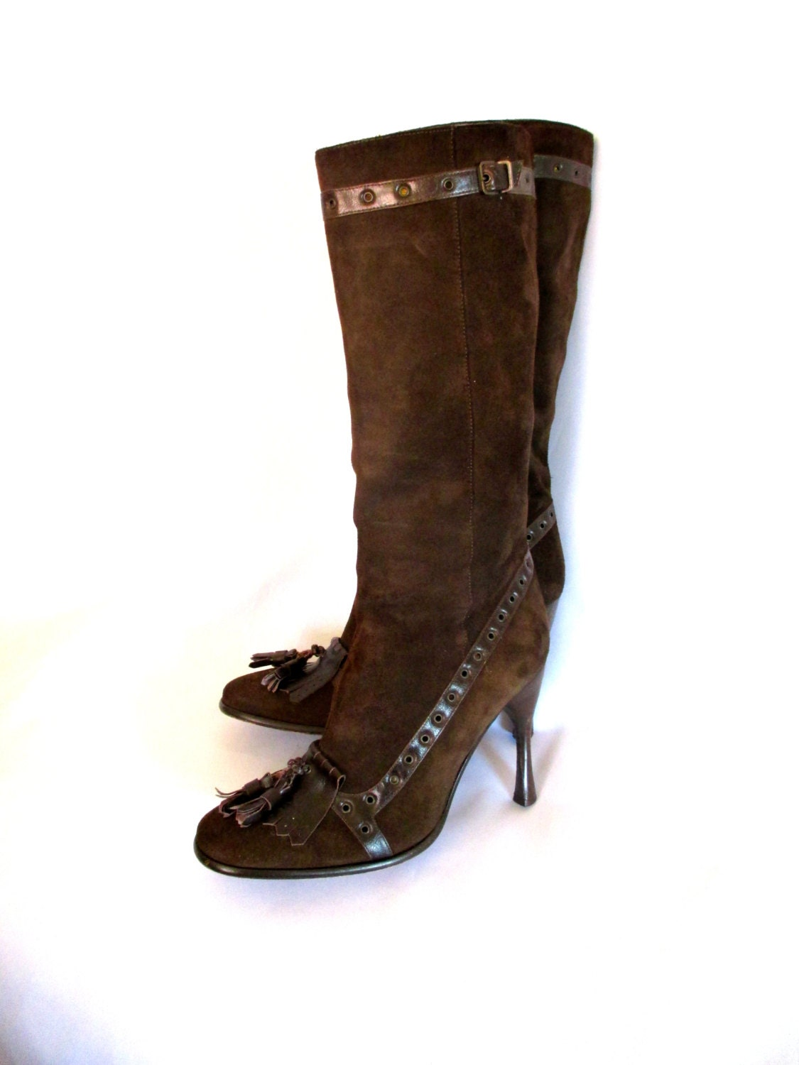 sale dolce gabbana brown suede high heel boots leather trim
