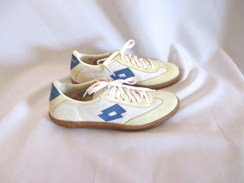 1980s unworn lotto tennis shoes blue white mens sz 8 made