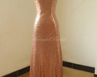 Rose Gold Sequined Aline Prom dress, bridesmaid dress, Evening dresses With caps leeves