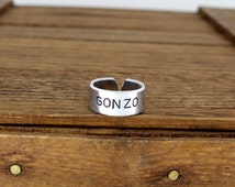 Gonzo Ring - Hunter S. Thompson - HST - Aluminum Adjustable Cuff Ring