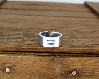 Equality Ring Style B - Gay Pride - Aluminum Adjustable Ring