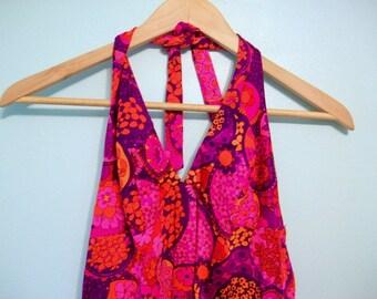 Vintage Dress, Halter Dress, Floral Dress, Maxi Dress, Floral Maxi Dress, Halter Maxi Dress, Pink Maxi Dress, Pink & Purple, Floral Halter