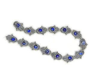 full strand of brass Hamsa hand with evil eye bead