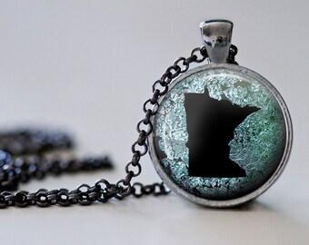 Minnesota Pendant Necklace - Minnesota Jewelry - State Pendant - State Necklace - State Jewelry