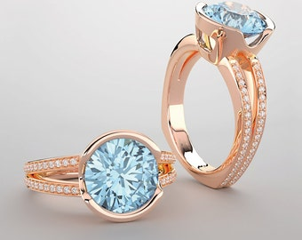 14kt Rose Gold Ring with 9mm Sky Blue Topaz and 0.36 ct. Accent Diamonds