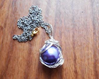 Purple Materia Necklace, Final Fantasy necklace, videogame jewelry, materia pendant, FF7 jewelry, materia necklace, Sale, Mako necklace
