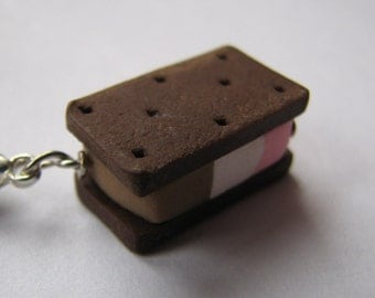 Neapolitan Ice Cream Sandwich Charm, Polymer Clay Ice Cream Charm, Neapolitan Ice cream cookie sandwich charm ice cream jewelry food jewelry