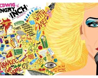"""Hedwig and the Angry Inch (2001) Inspired Movie Poster, """"The NEW Berlin Wall"""", by Cutestreak Designs. 2015. Version 2."""