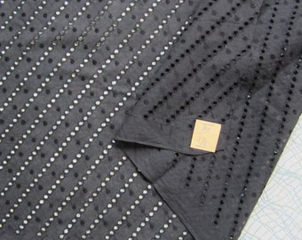 50s Black Cotton Eyelet and Dot on a Diagonal