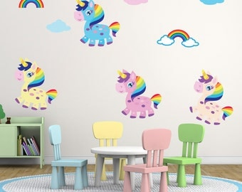 Friendly Rainbow Unicorn Wall Stickers, Unicorn Wall Decals, Rainbow Wall  Art, Nursery Wall Transfers - Removable and Repositionable -