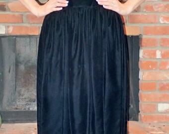 50's 60s Vintage Womens Dress - ILGWU - Formal Solid Black Velvet Midi Dress - Low Backless - Bows - Small Medium - Fabulous!