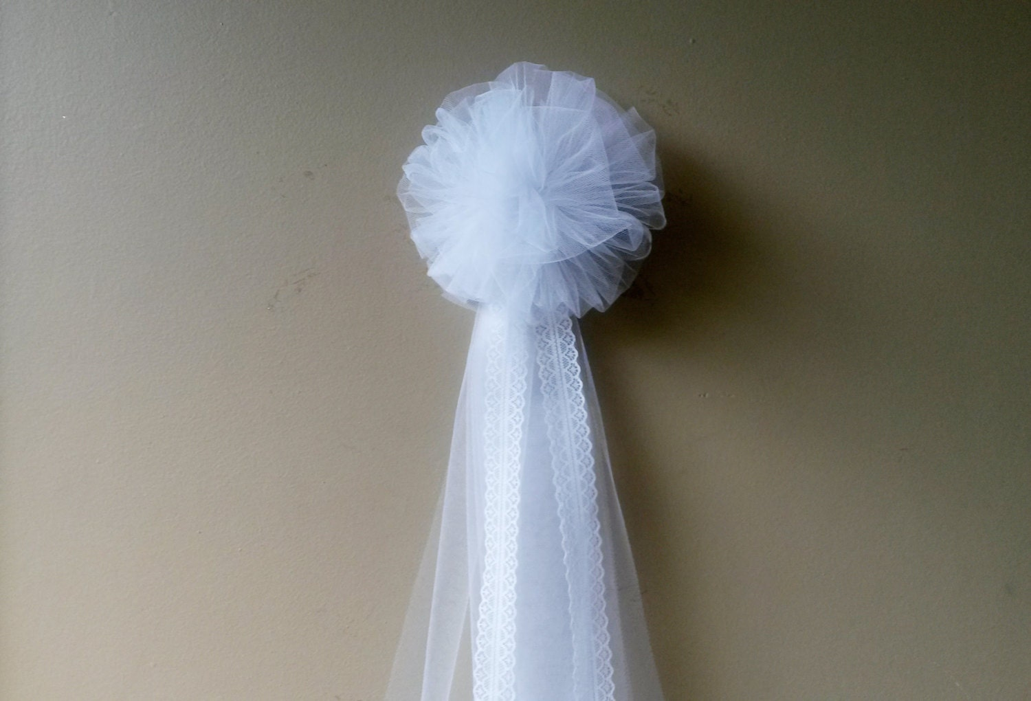 White Tulle Pew Bow Pom Tulle Pew Bow Bulk By