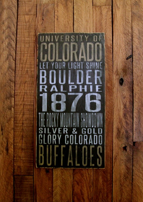 University of Colorado Buffaloes Distressed Wood Sign-Great Father's Day Gift!