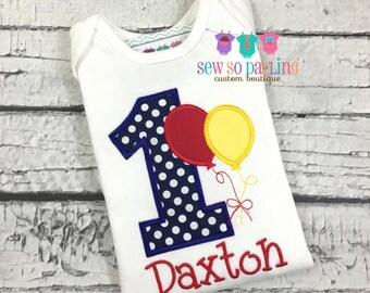 1st Birthday Boy Shirt - Boy Birthday Shirt - Balloon Birthday Outfit - Birthday shirt - first birthday outfit boy -1st birthday boy outfit