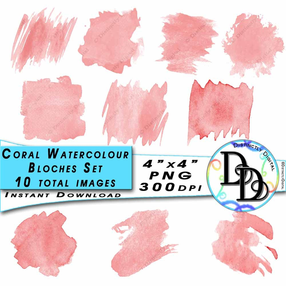 10 Coral Watercolour Clipart Blotches Printable Pink Paint