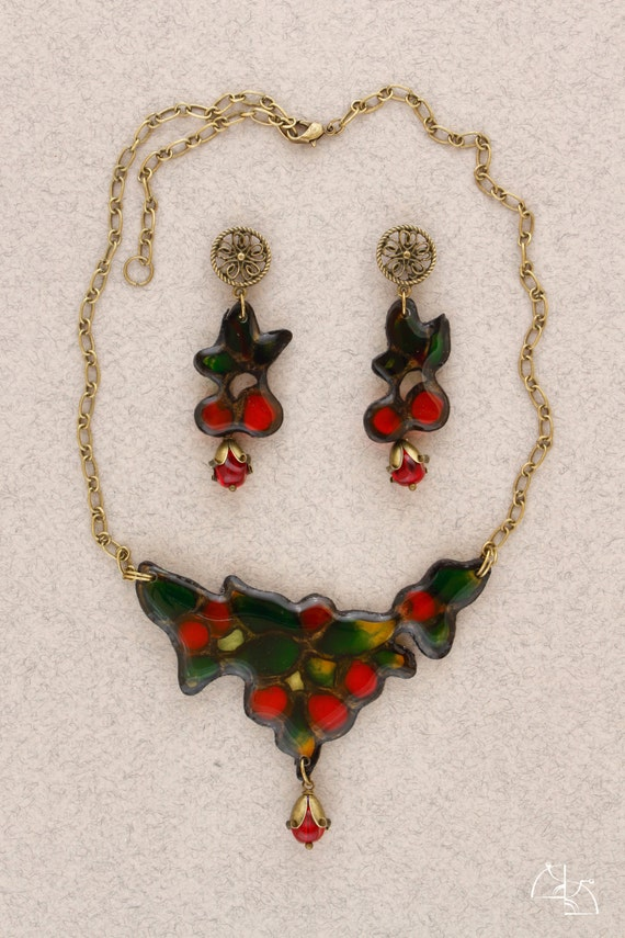 Cherry stained. Bright Jewelry Set. Summer berry necklace and  cherry long earrings. Jewelry resin. Cool gift for her