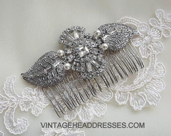 Authentic Vintage Paste Hair Comb, 1920's 1930's Art Deco & Pearl Comb, Rhinestone Comb, Wedding Hair Accessory, Bridal Hair Comb, Diamante